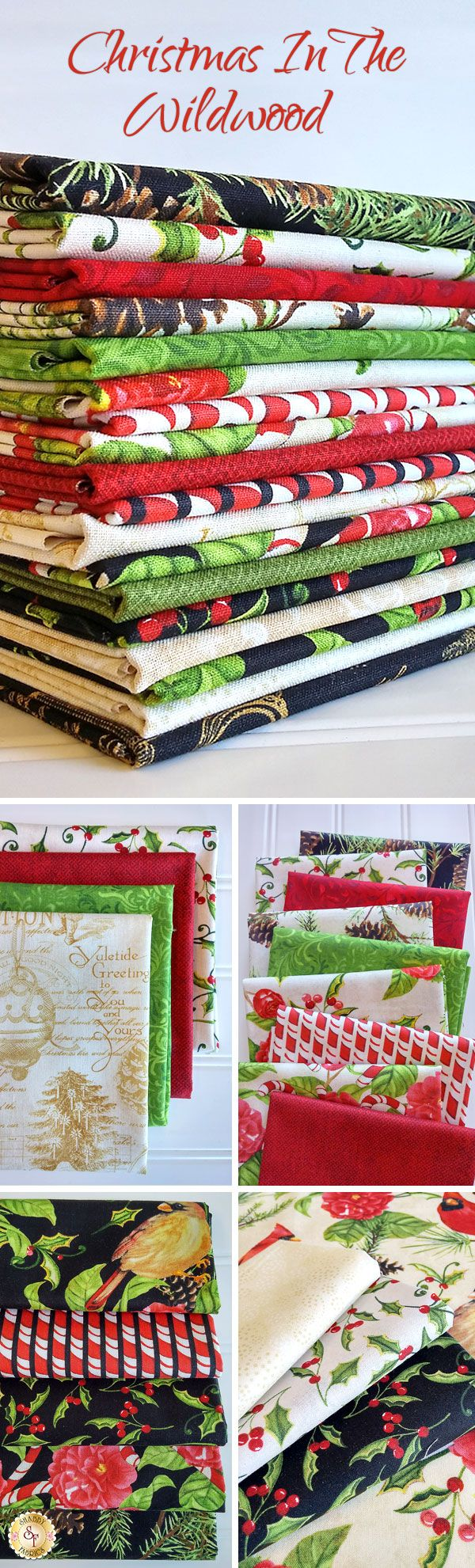 Christmas In The Wildwood by Nancy Mink for Wilmington Prints is a festive holiday fabric collection available at Shabby Fabrics!