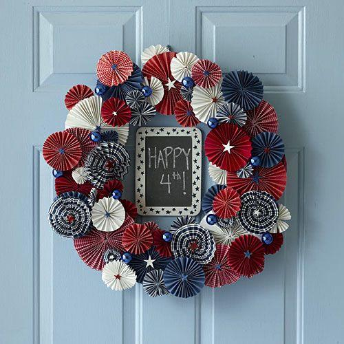Fourth of July pinwheel wreath
