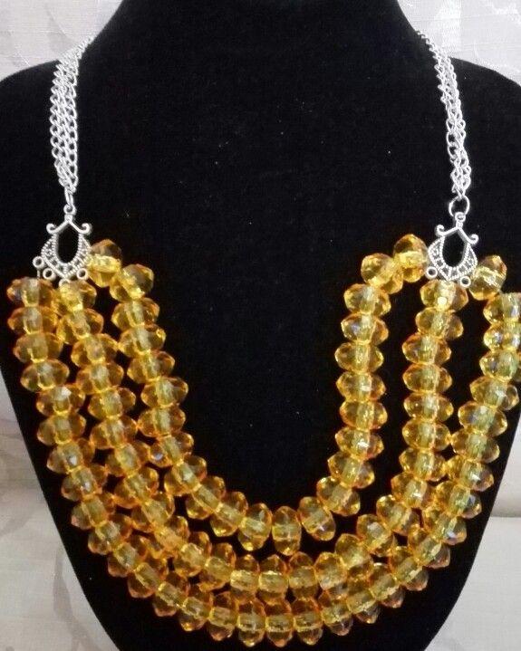 Orange triple strand necklace