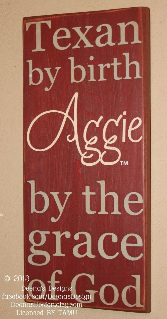 TAMU Wall Art, TAMU Aggies, Distressed Wood Signs, Wood Signage, Texas A and M University, Aggie By The Grace Of God - Officially Licensed