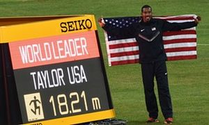 Christian Taylor soars to gold in world championships triple jump • American Taylor jumps second-best distance of all time • Taylor pays tribute to British long jumper Shara Proctor