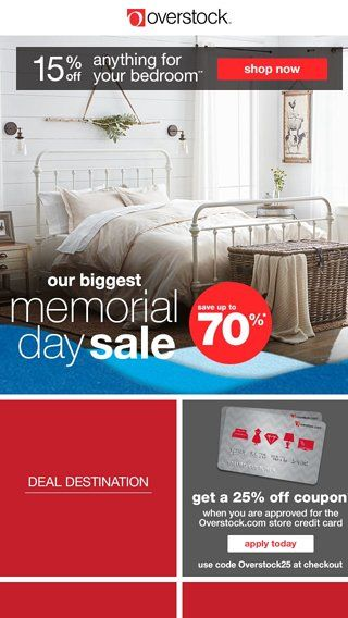 Open Now! Email Exclusive Coupon Inside! Shop Our Biggest Memorial Day Sale  Now!   Overstock.com Email Archive | On Sale Email Newsletter | Pinterest  ...