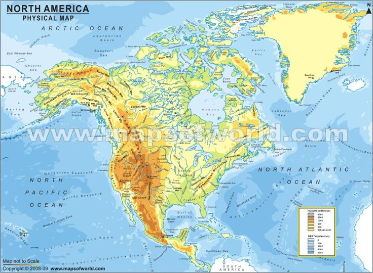 The Physical Map Of North America Shows Various Geographical Features In This Continent Major Physical Regions In North America Are Great Plains