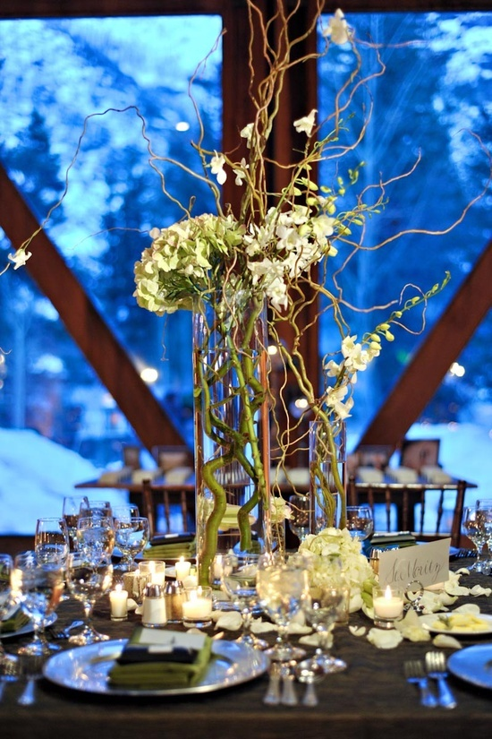 Wedding Centerpieces Using Twigs | Wedding Centerpieces - Branches / Tall centerpiece using branches.