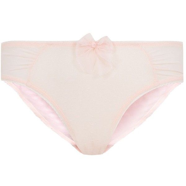 Kelly Brook Shell Pink Ruched Mesh Briefs ($4.25) ❤ liked on Polyvore featuring intimates, panties, underthings and underwear