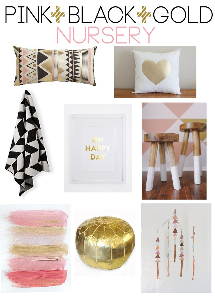 We are loving the colours Pink Black and Gold for a little baby girl's nursery. Check out our E-design board we have put together. Super sweet! To order your very own custom designed E-design board for your nursery, just click on the Contacts Page of our website and fill in your details. http://boutiqueyellow.com.au/contact-us/. Too easy!