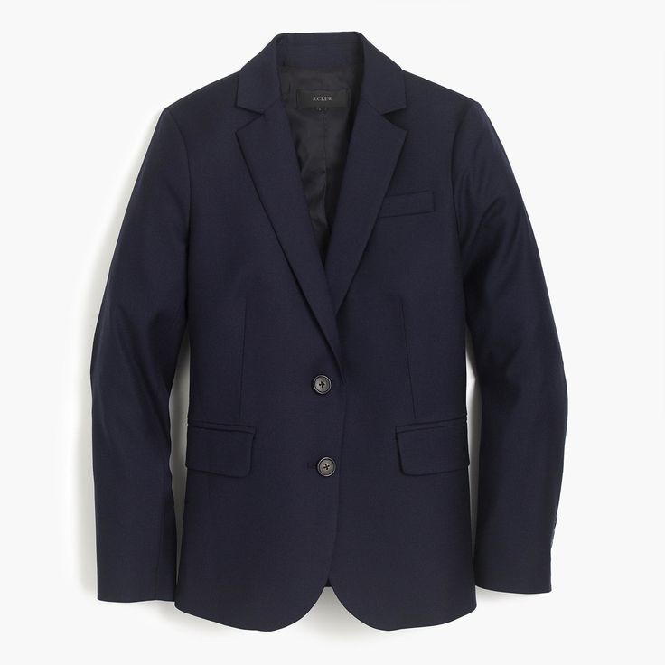 This tailored blazer is crafted in super 120s wool from Italy's Lanificio di Tollegno mill, est. 1862. And in case you're wondering what makes it so super... 120 is the measure of fiber, and the higher the number, the finer the fabric—so this fabric is extra fine (meaning it has a silky-smooth finish and a refined drape). Body length: 26 3/4. Sleeve length: 32. Wool. Dry clean. Import. Online only.