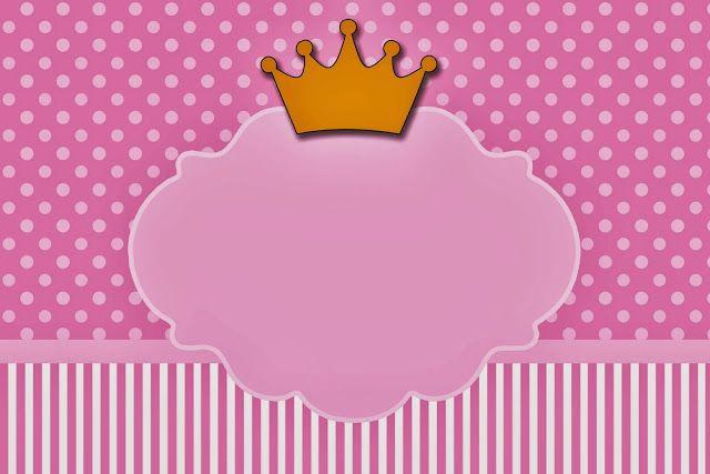 Coronas en Fondo Rosa: Invitaciones para Imprimir Gratis.