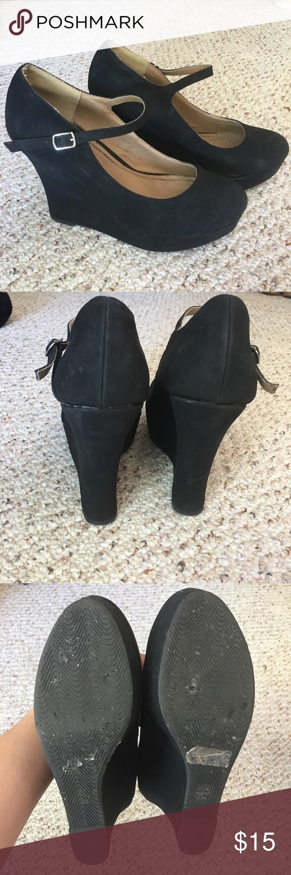 Black Mary Jane Wedges Black Mary Jane Wedges - Size 10  ‼️ OFFERS CONSIDERED‼️  💥💥I offer a 2 piece bundle discount, but can arrange a 3+ piece (and greater %) if you comment. 😊 Shoes Wedges