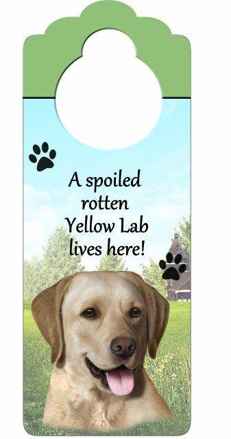 Yellow Labrador wooden doorknob hanger