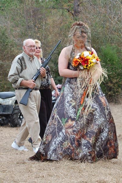There are so many funny things I want to say about this......hope her dad doesn't gift her buckshot.....how will the groom see her....cousin Jim Bob was so proud to gift her a Buck when the dollar dance came around....