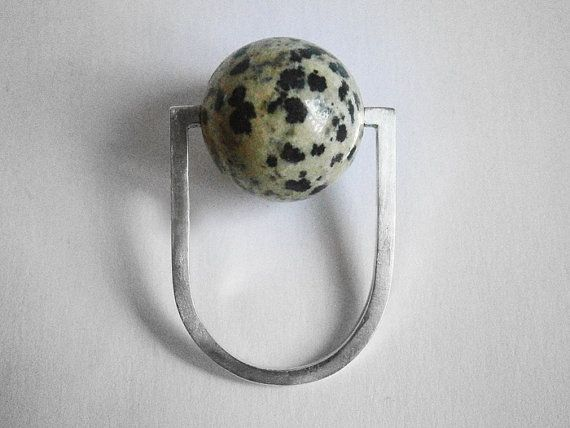orbit ring  dalmatian jasper bead  by marmod8 on Etsy, $90.00
