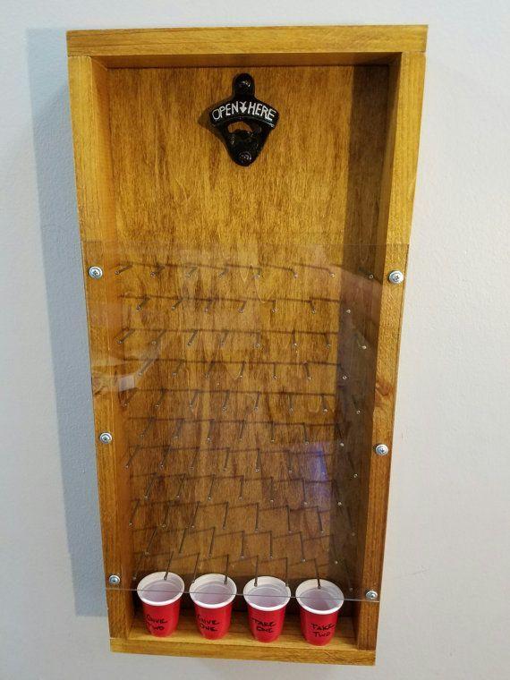 Beer cap plinko board by Parkersmancave on Etsy