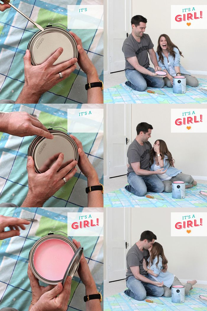 A sweet and special gender reveal with the nursery room paint color… click through to watch the video!