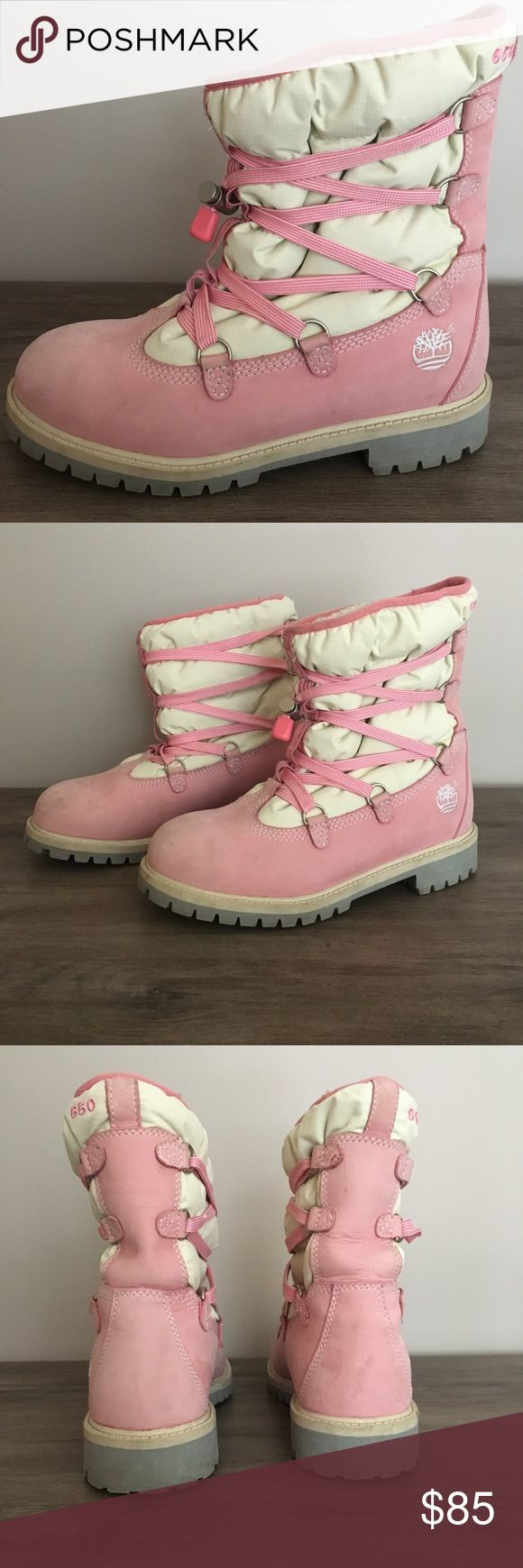 Girl's Timberland Winter boots Girl's pink Timberland winter boots. Size 5 in kids/ Euro 37 ( fits like a women's 7). Pink. In great condition, perfect for snow ❄️ Timberland Shoes Winter & Rain Boots