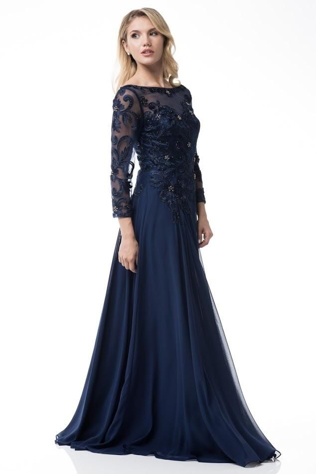 Floor Length Long Sleeves Chiffon Navy Mother The Bride Dress Groom Evening Gown