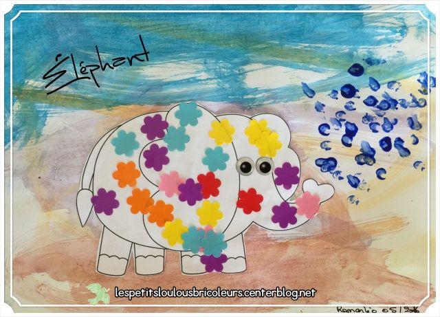 ELEPHANT Eléphant colorié avec des gommettes Fond : peinture à l'eau essuyée au papier essuie tout.