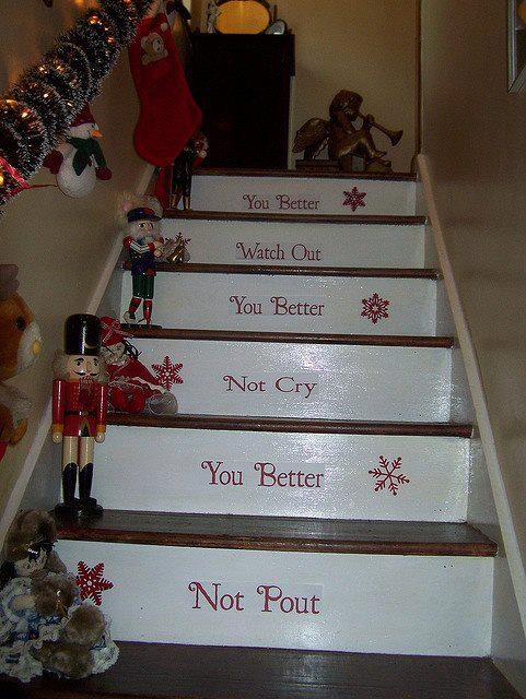 #christmas #stairs - Looks like something you could do all year round with white contact paper.  Or white paint and peel of lettering?