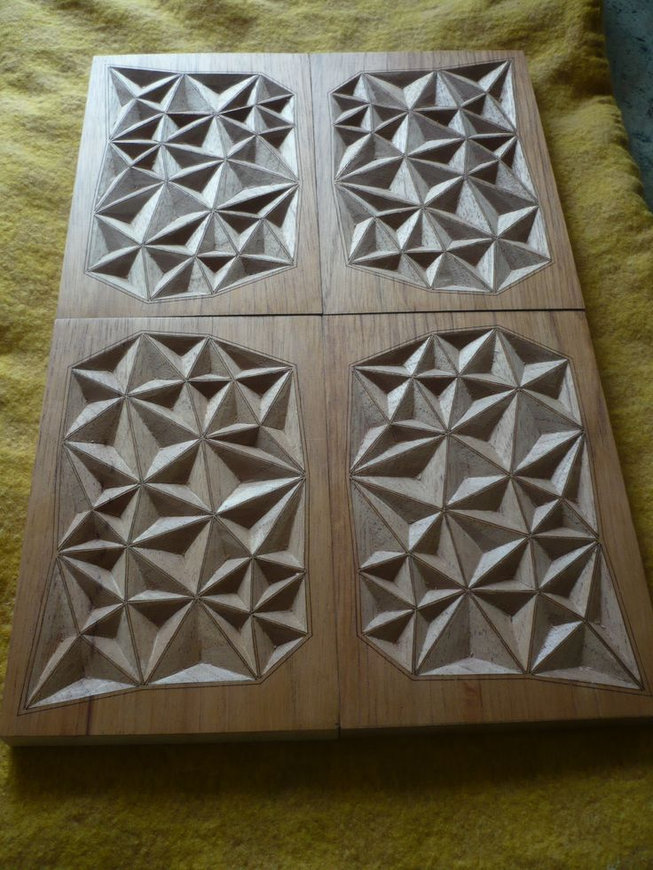 Steps geometric wood carving