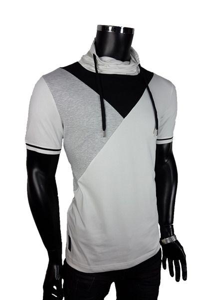 T-shirt męski komin - Biały - T-shirty męskie - Awii, Odzież męska, Ubrania męskie, Dla mężczyzn, Sklep internetowy