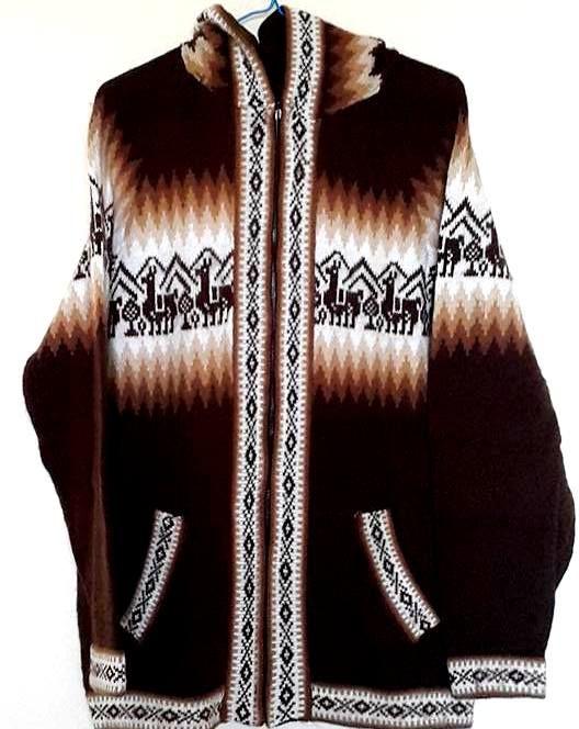 Bruine vest gebreide in alpaca wol