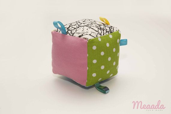 Educational cube sensory colorful with tags for fun by Meaada