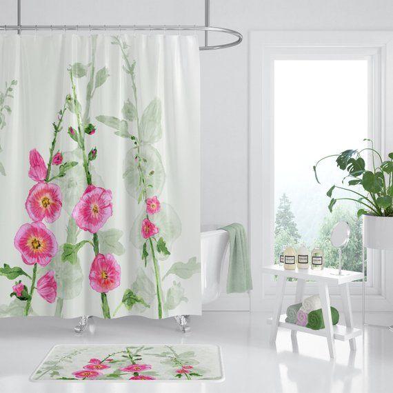 Hollyhock Floral Shower Curtain Pink And Green Fabric Beautiful Bathroom Pink Bathroom Accessories Simple Bathroom Decor