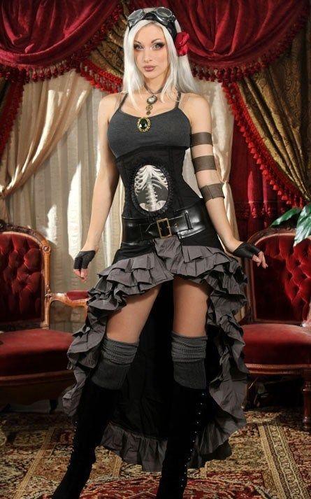 Couture Rock Steampunk Black Grey Skirt Gothic Punk