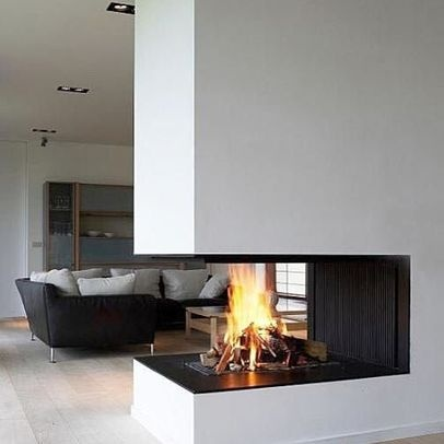 Three Sided Fireplace Design Idea