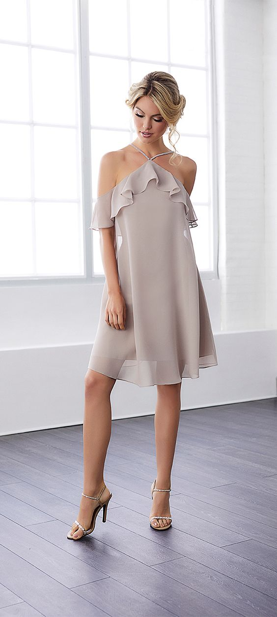 SPRING 2018 // Style 22806 | Short and expressive chiffon dress with a semi-halter neckline embellished with beaded straps. Outfitted with wavy, light butterfly sleeves. Pictured in: Taupe#ChristinaWu #Bridesmaids #SpringWedding