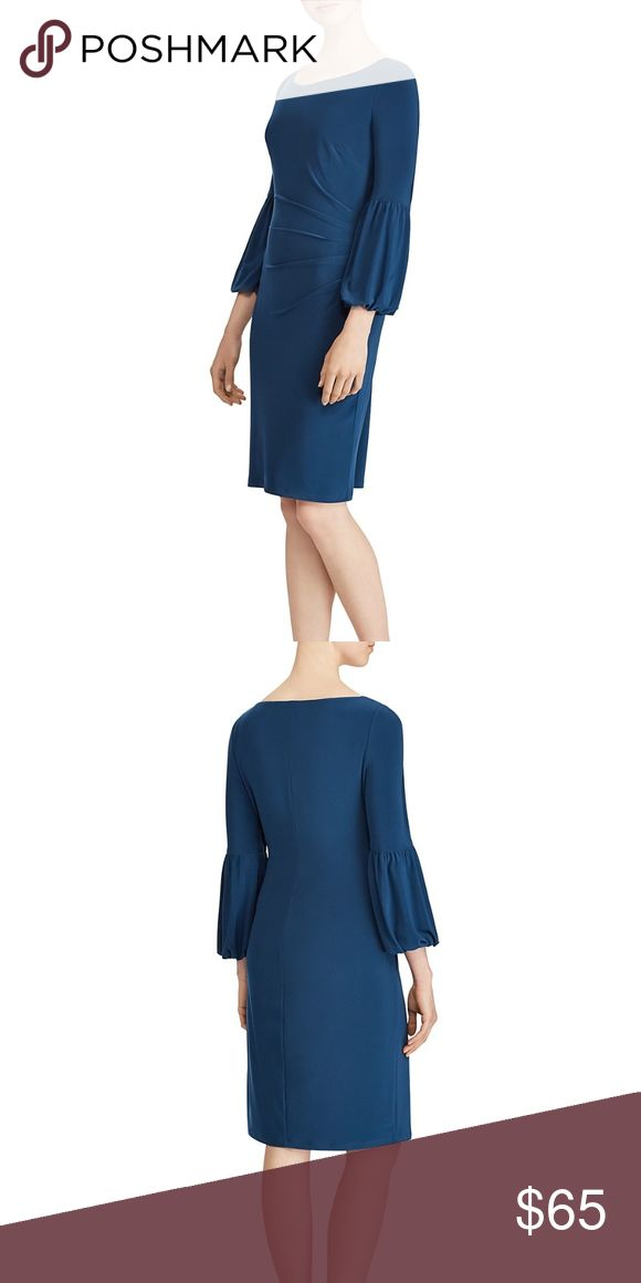 NWT Lauren by RL Bell Sleeve Dress Beautiful rich blue jersey dress with statement bell sleeves.  Pretty pleats at the waist give it a slimming effect.  Dress is pullover style and sleeves are 3/4 length. Lauren by Ralph Lauren Dresses