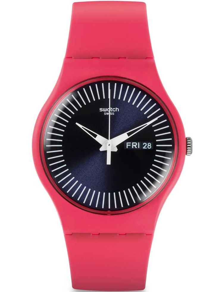 awesome Swatch Unisex Berry Rail Pink Strap Watch SUOP702 just added...