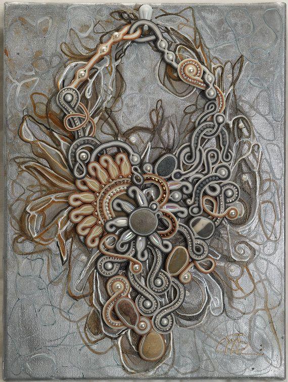 Painting Soutache necklace Due Soli by PaolaGriffoSoutache