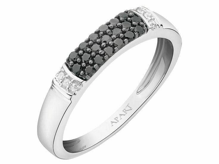 Pierścionek z białego złota z diamentami | Apart