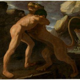 Hércules lucha con el león de Nemea Zurbarán 1634 Serie trabajos de hércules, salón de reinos, palacio del buen retiro - Museo Nacional del Prado