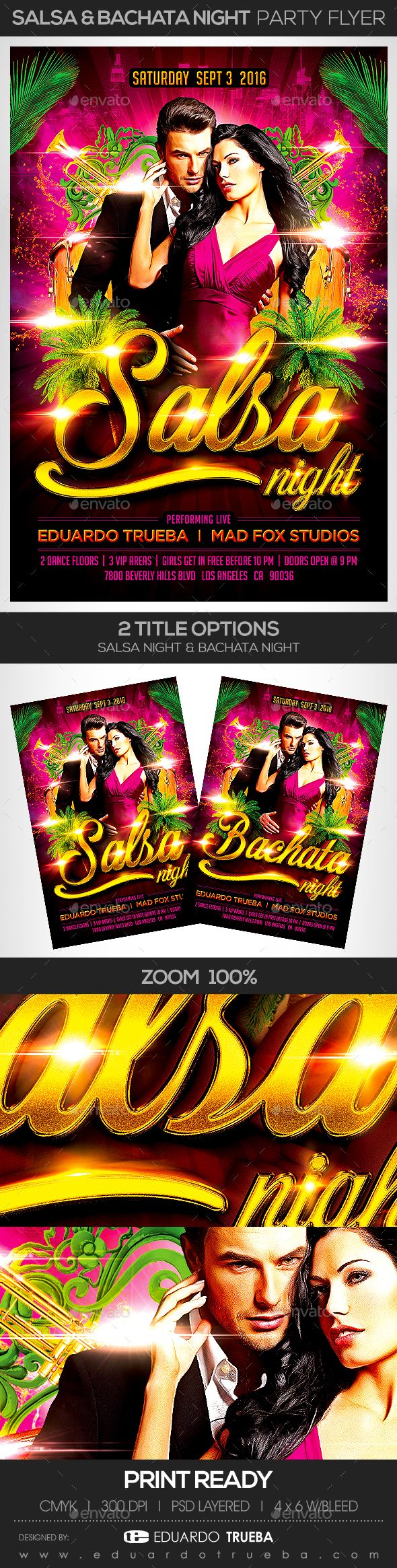 Salsa & Bachata Night Party Flyer — Photoshop PSD #bachateame #festival • Available here → https://graphicriver.net/item/salsa-bachata-night-party-flyer/17765056?ref=pxcr