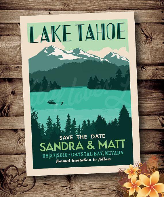 PRINTABLE Save The Date Lake Tahoe Wedding Announcement Mountain Destination Retro invite invitation vintage travel poster Digital PDF