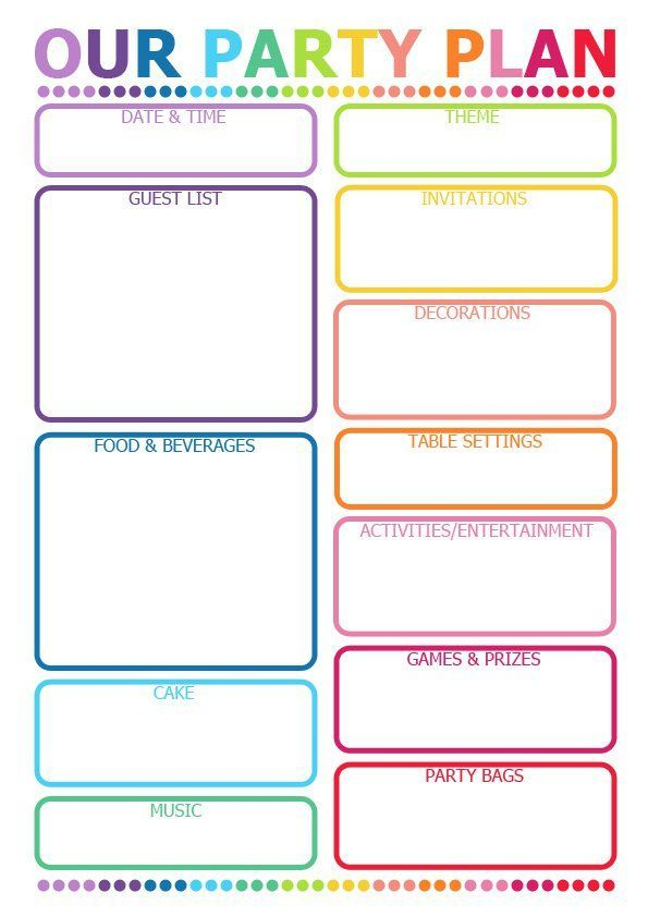 Printable party planner for kids parties. Great prompts