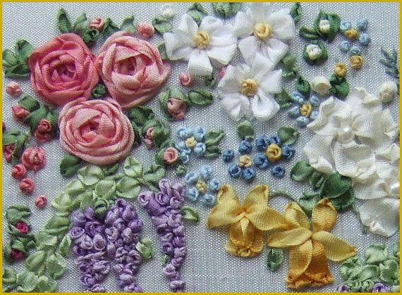 Pdf garland of silk ribbon flowers pattern for