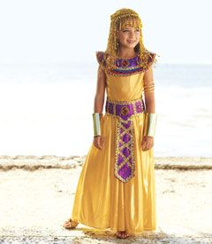 cleopatra girls costume - Only at Chasing Fireflies - For your lovely queen of ancient Egypt, nothing less than a gown of gold liquid lamé.