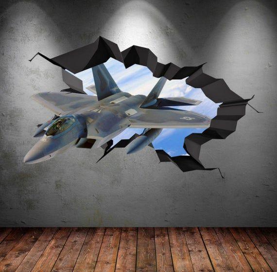 Air Force F22 Fighter Jet Plane 3d Wall Art Decals Wall Art Etsy 3d Wall Art Decal Wall Art Etsy Wall Art