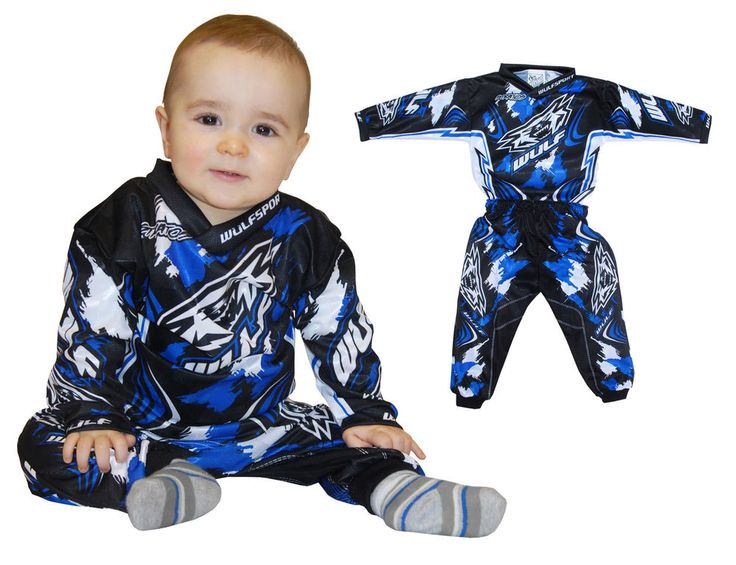 Wulfsport MX Motocross Baby Childrens Toddler Pants + Shirt Set Blue #Wulfsport