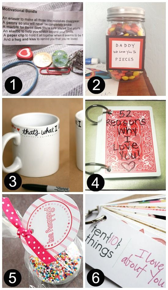 1. Motivational Bundle– This is just TOO cute not to pass up! 2. We Love You To Pieces– This one can be from the kiddos OR just you! 3. Sharpie Mug– Nothing more personal {or permanent!} than a sweet note written with a sharpie on a cozy mug! 4. 52 Reasons Why I Love You– that's a lot of reasons! He'll DEFINITELY feel the love! 5. Be Happy Printable– this FREE printable can be wrapped around just about anything! 6. 10 Things I Love About You ring