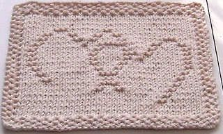 Inter-locked Hearts Dishcloth #free #knit #knitting #pattern #heart #freeknittingpattern