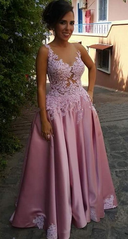 Pink Illusion Prom Dress,A Line Long Party Dress,