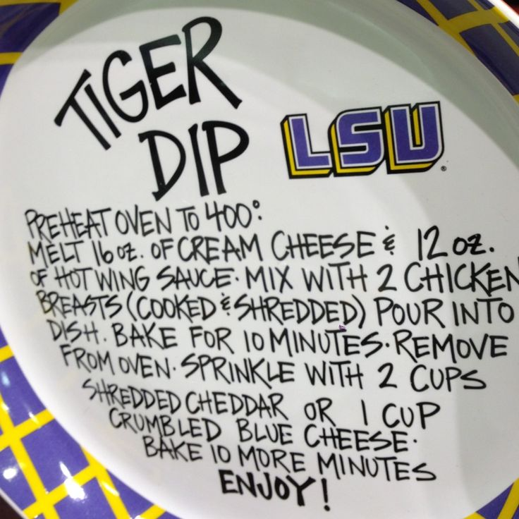 LSU dip recipe.  Made this for the LSU game today!  Yummy