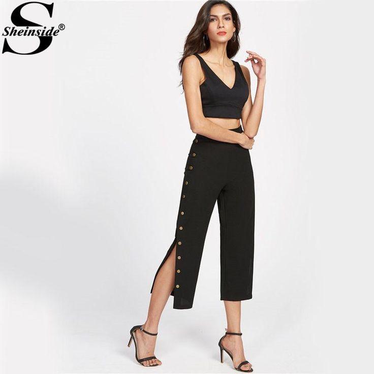 Women's Black Pants - Side Metal Buttons - Elegant Mid Waist Brief Cropped Pants