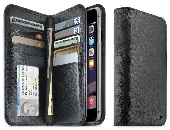 Most wallet-style phone cases have only one or two slots to serve as your wallet, but the Jstyle Leather Wallet iPhone Case for iPhone 6 Plus is an actual wallet. The wallet has two flaps that hav...