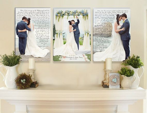 Love this fireplace mantle. I love the photos with wedding vows! Wedding Vow Canvas Art by DesignerCanvases on Etsy, $325.00