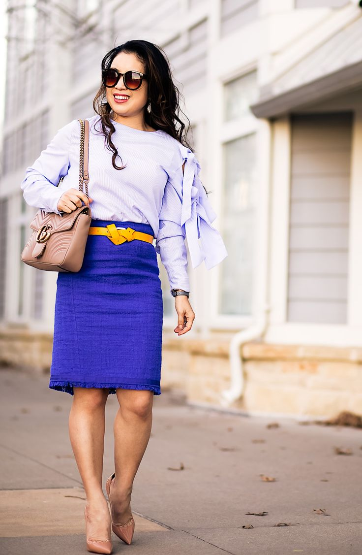cute & little | petite fashion blog | blue pinstripe bow tie sleeve blouse, blue tweed pencil skirt, yellow belt, gucci marmont matelasse bag, louboutin so kate | spring work outfit